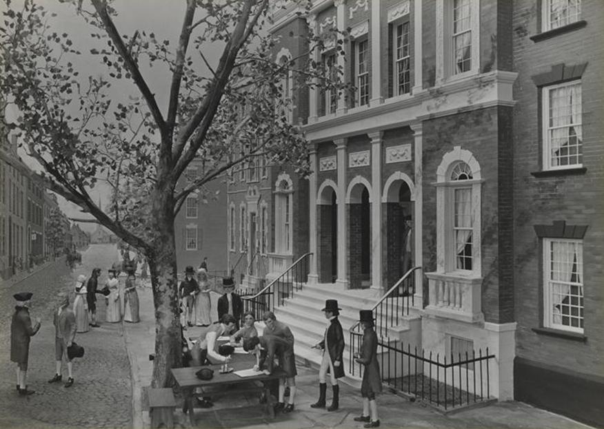 Кофейня «Тонтин» и платан на Уолл-стрит, конец XVIII века
