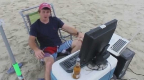 Trading desk on the beach